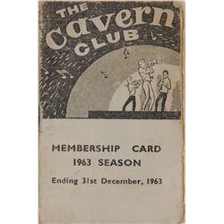 Beatles 1963 Cavern Club Membership Card