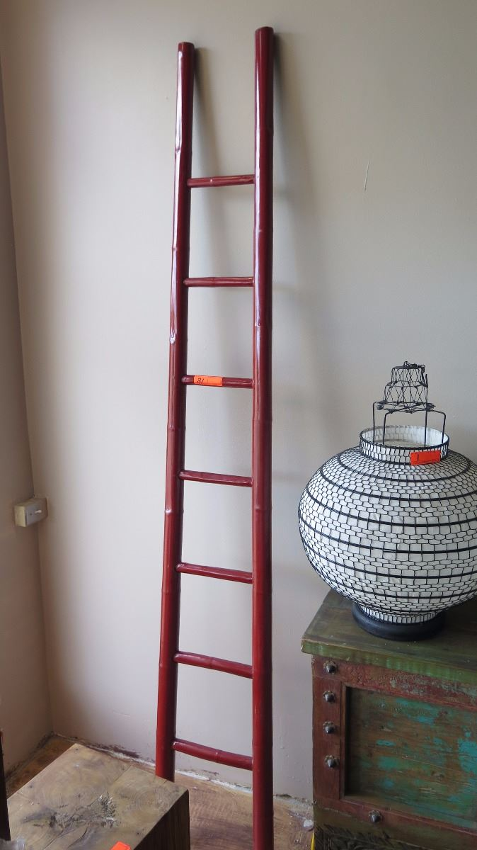 Red Laquered Bamboo Decorative Ladder 93 Tall 12 Wide
