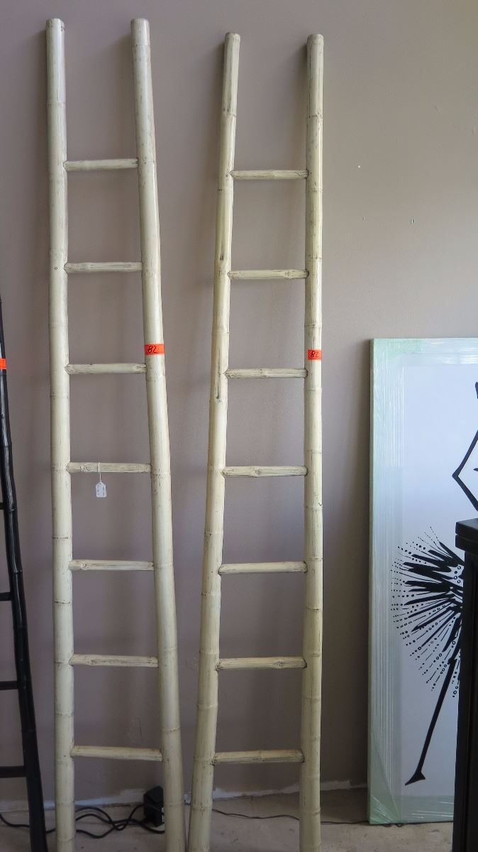 Qty 2 White Lacquer Bamboo Decorative Ladder 92 Tall 13