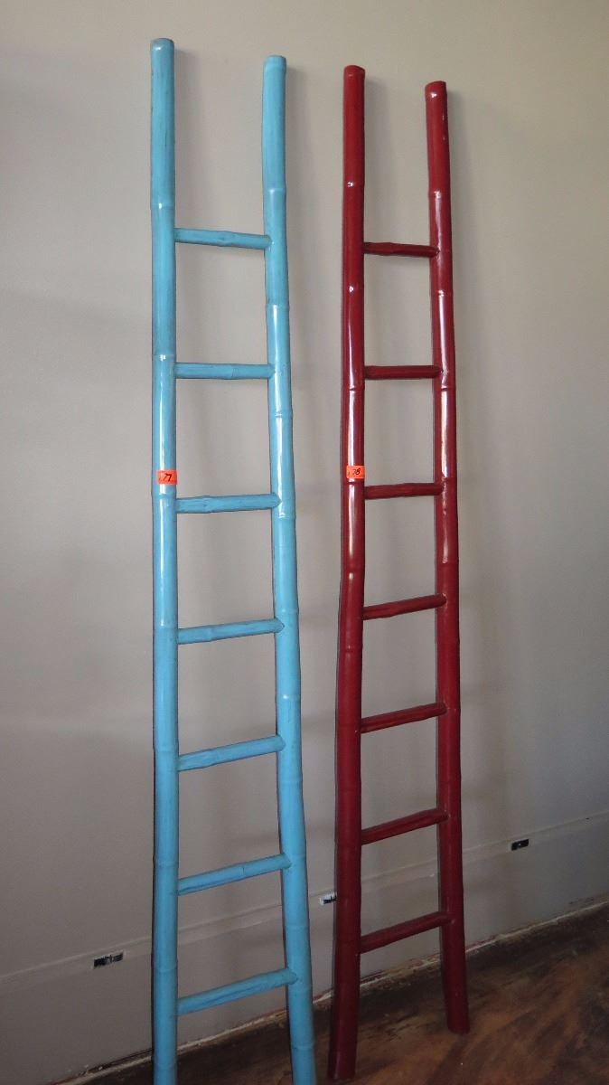 Turquoise Lacquer Bamboo Decorative Ladder 91 Tall 13