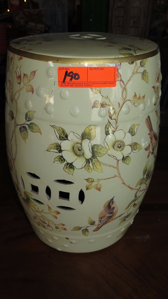 Awesome Glazed Ceramic Garden Stool Gardenia Floral Motif Caraccident5 Cool Chair Designs And Ideas Caraccident5Info