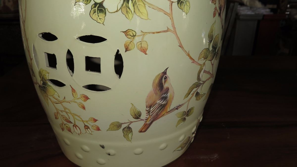 Fabulous Glazed Ceramic Garden Stool Gardenia Floral Motif Caraccident5 Cool Chair Designs And Ideas Caraccident5Info