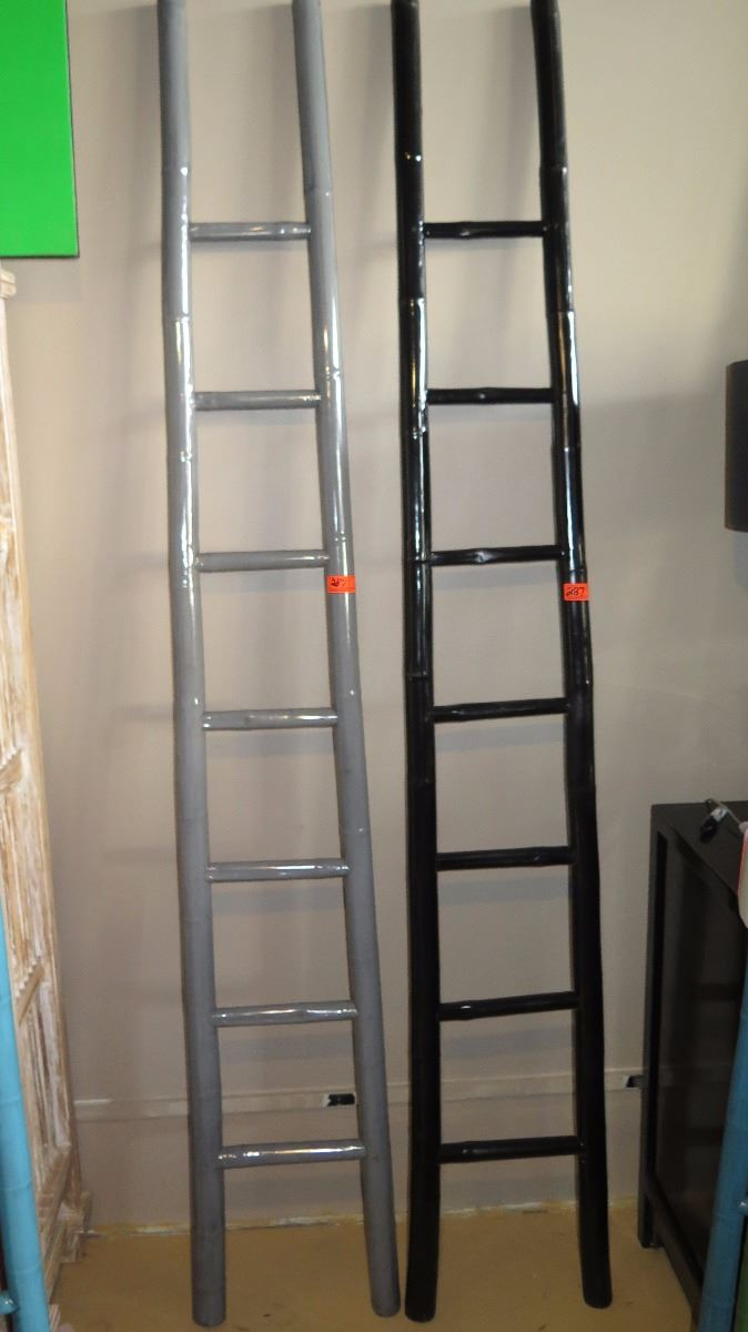 Qty 2 Gray Black Lacquer Bamboo Decorative Ladder 91