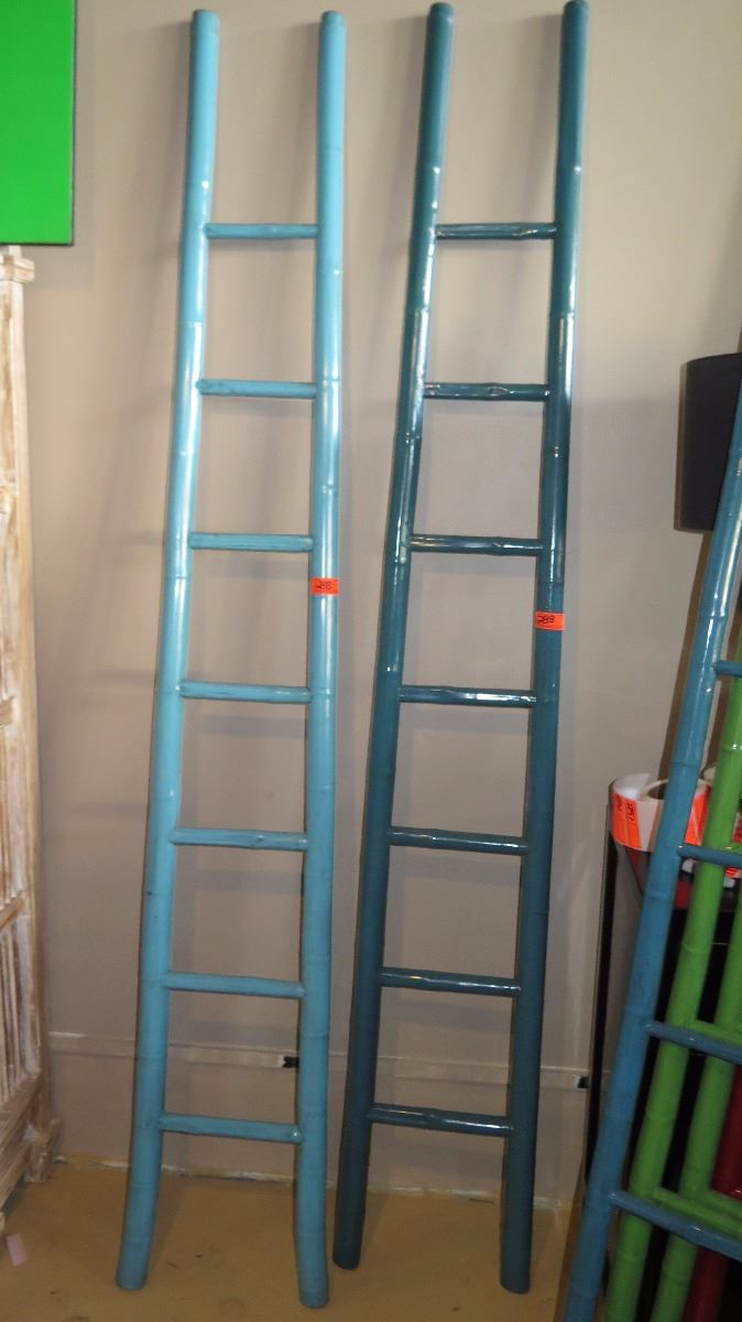 Qty 2 Teal Turquoise Lacquer Bamboo Decorative Ladder