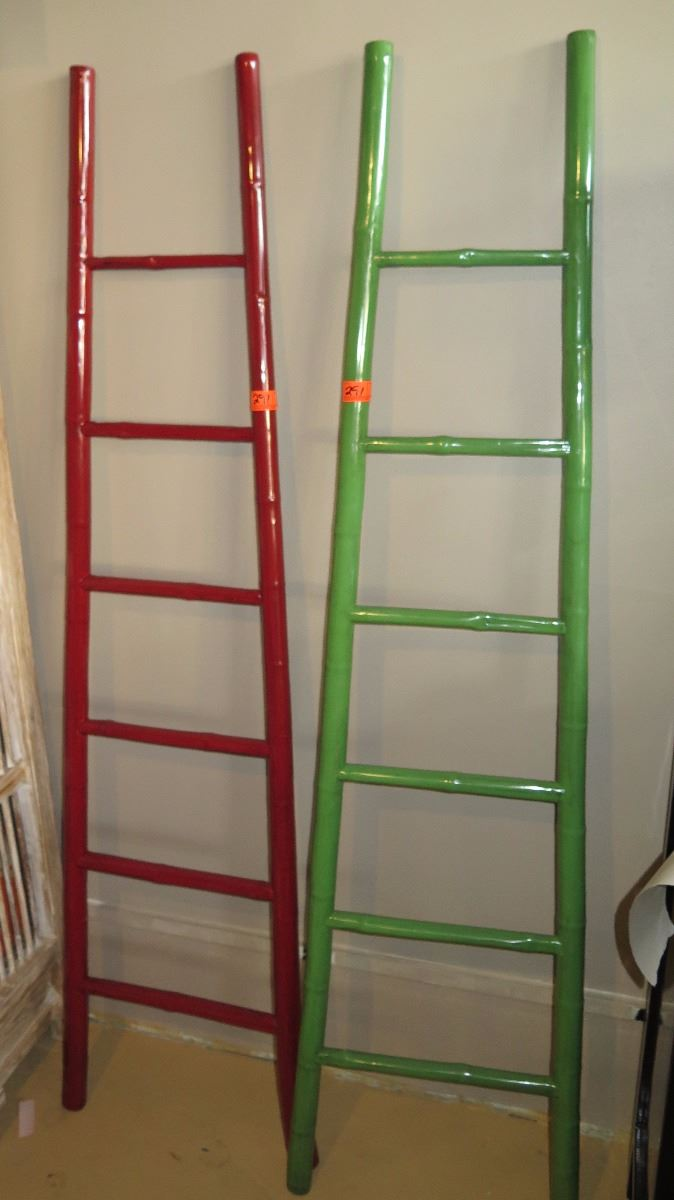 Qty 2 Red Green Lacquer Bamboo Decorative Ladder 73 Tall