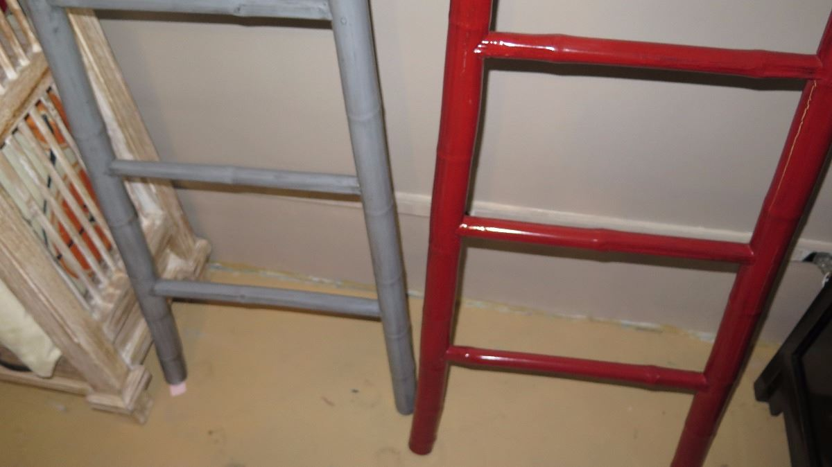 Qty 2 Red Gray Lacquer Bamboo Decorative Ladder 73 Tall