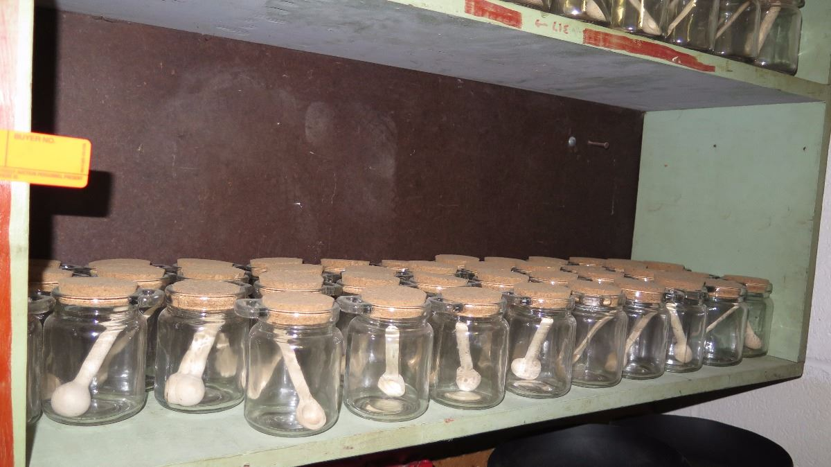 Huge Lot Of Small Jars Wcork Top And Wooden Spoons 3x4