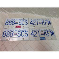 BC License Plates x4