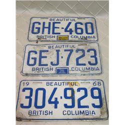 BC License Plates x3