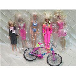 5 Barbie Dolls and a Bike