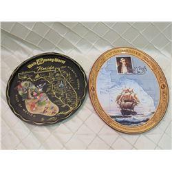 2 Collectors Tin Platters