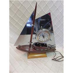 Wood/Metal Ship Clock Light