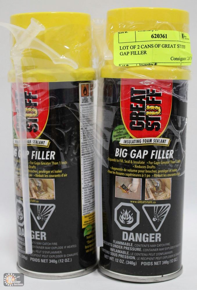 LOT OF 2 CANS OF GREAT STUFF GAP FILLER