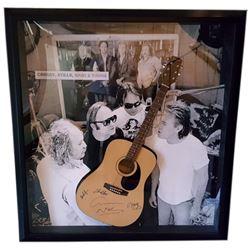 Crosby, Stills, Nash & Young Signed Guitar Framed
