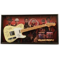 Village People Signed Guitar Framed