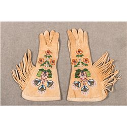 "Plateau Beaded Gauntlets, 16"" long"