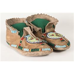 "Crow Beaded Man's Moccasins, 10"" long"