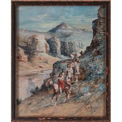 Edgar S. Paxson, watercolor