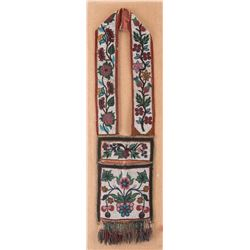 "Ojibwa Beaded Bandolier Bag, 42"" long"
