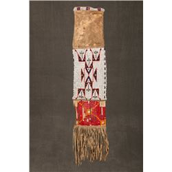 "Sioux Beaded and Quilled Pipebag, 34"" overall"