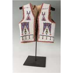 "Ogallala Sioux Fully Beaded Vest, 19"" tall x 18"" wide"