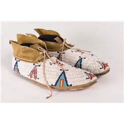 "Cheyenne Beaded Man's Moccasins, 10 ¾"" long"