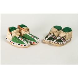 Two pairs of Sioux Beaded Children's Moccasins