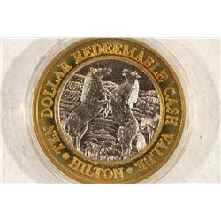 CASINO $10 SILVER TOKEN (UNC) RENO HILTON