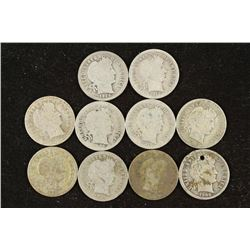 10 ASSORTED BARBER DIMES 1 HOLED