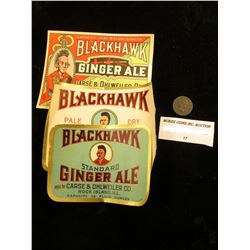"1875 U.S. Indian Head Cent & Three-different ""Blackhawk Ginger Ale"" Bottle Labels"