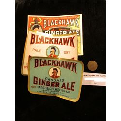 "1869 U.S. Indian Head Cent & Three-different ""Blackhawk Ginger Ale"" Bottle Labels"