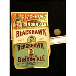 "1878 U.S. Indian Head Cent & Three-different ""Blackhawk Ginger Ale"" Bottle Labels"