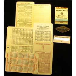 "Laminated Calendar Business cards: 1923, (2) 1934, 1951, 1959, 1960, & 1961; 1930 ""Junior Salesman 2"
