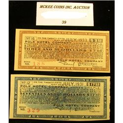 "$3.50 & $17.50 Scrip ""Polk Hotel Company, Haines City, Florida"" July 1933 & July 1931 Depression era"