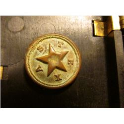 """TEXAS"" Civil War Brass Uniform Button. Very Rare! ""Waterbury, Ct. Button Co., Bent shank (possibly"