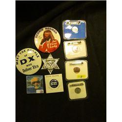 """(2) 1988 D Cent & (2) Dime encased Coin Dukakis For President Pin-backs; """"Kellog's Chuck Wagon Champ"""