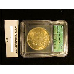 """1921 P U.S. Morgan Silver Dollar ICG slabbed """"MS 64""""."""