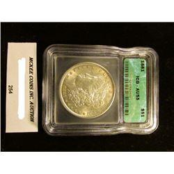 """1881 P U.S. Morgan Silver Dollar ICG slabbed """"AU55""""."""