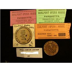 """(3) Different Ticket stubs from """"Coalport: Opera: House, Parquette"""" with reverse side advertising fr"""