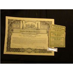 """1929 Stock Certificate for three Shares of """"Angelus Oil Mining Association…Los Angeles, Ca."""" valued"""