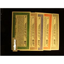 """Five-Piece $5, $10, $15, $25, & $50 Depression Scrip """"Tax Anticipation Note of 1936 United States of"""