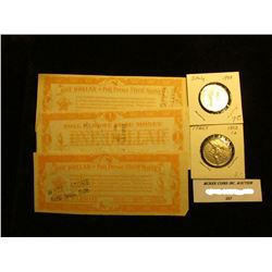 "Set of Three ""Watt's Store North Bend, Nebr. One Dollar in Poll Parrot Shoe Money""; Italian: 1922R O"
