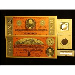 """$1 & $5 """"The Confederate States of America"""" facsimile Notes; 1919 & 34 Italy Five Centimes, EF."""