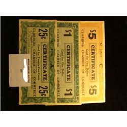 1933 Depression Scrip.  MS #:  IA220-.25A, IA220-1, & IA220-5A.  City:  Clarinda, Iowa. Issuer:  Cla