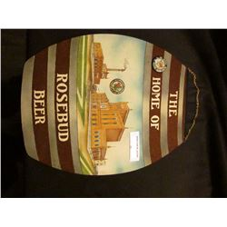 """""""The Home of Rosebud Beer"""" Felt Sign & """"Rose Bud Beer Made in S.D."""" Pin-back"""". 'Doc' valued this pai"""