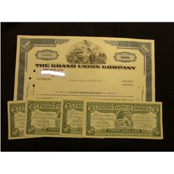 """100 Shares of 1966 Stock """"The Grand Union Company"""", vignette of woman with cape; & (7) 1976 Commemor"""