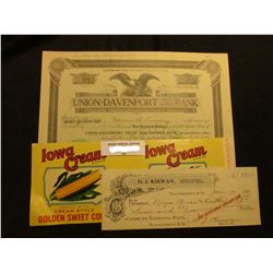 """""""Iowa Cream Brand Golden Sweet Corn"""" can label; 12 Shares of 1923 Stock in """"Union-Davenport Trust an"""