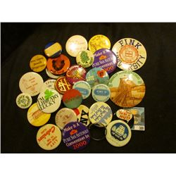 "Large group of miscellaneous Pin-backs including ""Fink University"", ""Exhibitor Townsend's Antique Sh"