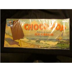 "1946 advertising poster ""Choco-Pop Deliciously Coated Ice Cream on-a-stick"", some erosion at lower l"