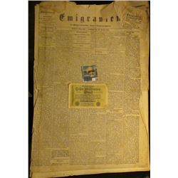 "Newspaper January 1st, 1867 ""Emigranten"" Madison, Wisconsin, most of which is written in German; & a"
